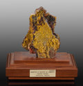 Minerals:Cabinet Specimens, Mimetite and Calcite on Limonite. Mun. de Aquiles Serdán.Chihuahua. Mexico. 3.62 x 2.00x 4.8...