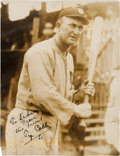 Baseball Collectibles:Photos, 1920's Ty Cobb Signed Original News Photograph, PSA/DNA Type 1....