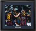 Autographs:Others, Andres Iniesta & Xavi FC Barcelona Signed Oversized Photo. ...
