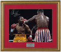 Boxing Collectibles:Autographs, Sugar Ray Leonard & Thomas Hearns Signed Oversized Photo. ...