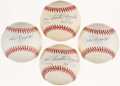 Autographs:Baseballs, Phil Rizzuto Single Signed Baseball Lot of 4 - With Inscriptions. ...