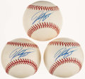 Autographs:Baseballs, Trio of Mike Piazza Single Signed Baseball (3). ...
