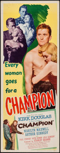 "Movie Posters:Sports, Champion (United Artists, 1949). Insert (14"" X 36""). Sports.. ..."