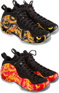 Other:Contemporary, Nike X Supreme. Air Foamposite 1, Supreme SP; 2 pairs, Black/Black-Metallic; Sport Red/Black-Metallic Gold, 2014. Each p... (Total: 4 Items)