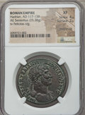 Ancients:Roman Imperial, Ancients: Hadrian (AD 117-138). Orichalcum sestertius (25.38 gm).NGC XF 4/5 - 2/5, smoothing....