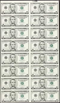 $5 and $10 FRN Star Uncut Sheets of 16 Choice Crisp Uncirculated or Better