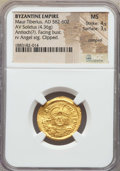 Ancients:Byzantine, Ancients: Maurice Tiberius (582-602). AV solidus (4.36 gm). NGC MS4/5 - 3/5, clipped, crimped....