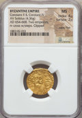Ancients:Byzantine, Ancients: Constans II (AD 641-668) and Constantine IV (AD 654-685).AV solidus (4.36 gm). NGC MS 4/5 - 2/5, wavy flan,clipped....