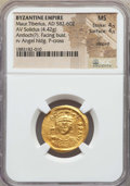 Ancients:Byzantine, Ancients: Maurice Tiberius (582-602). AV solidus (4.42 gm). NGC MS4/5 - 4/5, clipped....