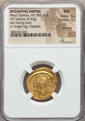Ancients:Byzantine, Ancients: Maurice Tiberius (582-602). AV solidus (4.36 gm). NGC MS5/5 - 3/5, clipped, crimped....