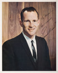 Autographs:Celebrities, Ed White II Signed Early Business Suit Pose Color Photo. ...
