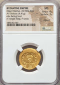 Ancients:Byzantine, Ancients: Maurice Tiberius (582-602). AV solidus (4.41 gm). NGC MS4/5 - 3/5, clipped....