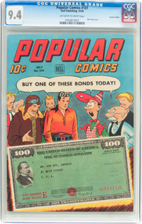 Popular Comics #101 Central Valley Pedigree (Dell, 1944) CGC NM 9.4 Off-white to white pages