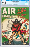 Golden Age (1938-1955):War, Air Fighters Comics #12 (Hillman Fall, 1943) CGC NM- 9.2 Cream tooff-white pages....
