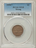 Flying Eagle Cents, 1858/7 1C VF35 PCGS. PCGS Population: (14/139). NGC Census: (10/145). Mintage 24,600,000. ...