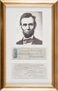 Autographs:U.S. Presidents, Abraham Lincoln Check Engrossed in His Hand and Signed...