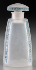Art Glass:Lalique, R. Lalique Frosted Glass Fleurettes Perfume with BluePatina. Circa 1919. Molded LALIQUE . M p. 341, No. 577...