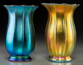 Art Glass:Schneider, Two Steuben Blue and Gold Aurene Glass Floriform Vases. Circa 1915.Marks: STEUBEN. Ht. 6-5/8 in.. ... (Total: 2 Items)