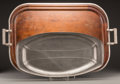 Decorative Arts, Continental, Two Wood, Silver-Plated, and Pewter Trays, 20th century. 3 h x 29 wx 18-1/8 d inches (7.6 x 73.7 x 46.0 cm) (largest). PR... (Total: 2Items)