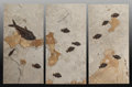Fossils:Fish, Fossil Fish Mural Trio. Diplomystus dentatus, Knightia eocaenaand Cockerellites liops. Eocence. Green RiverForma... (Total: 3 Items)