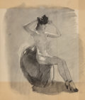 Mainstream Illustration, Gil Elvgren (American, 1914-1980). Seated Nude. Charcoal onvellum. 18.5 x 16 in. (sheet). Not signed. ...