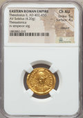 Ancients:Roman Imperial, Ancients: Theodosius II (AD 402-450). AV solidus (4.20 gm). NGC Choice AU 5/5 - 4/5, clipped....