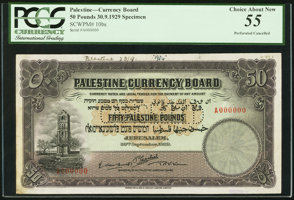 Featured item image of Palestine Palestine Currency Board £50 30.9.1929 Pick 10bs Specimen.  ...