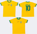 Miscellaneous Collectibles:General, Pele Signed Brazil Jersey Trio (3)....