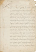 """Miscellaneous:Ephemera, French King Louis XVI: Signed 1779 Document Declaring the King'sDetermination to Protect """"my possessions in America by increa..."""