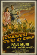 "Movie Posters:War, Commandos Strike at Dawn (Columbia, 1942). One Sheet (27"" X 41""). War. Starring Paul Muni, Anna Lee, Lillian Gish and Sir Ce..."