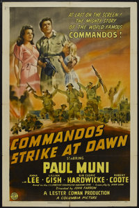 "Commandos Strike at Dawn (Columbia, 1942). One Sheet (27"" X 41""). War. Starring Paul Muni, Anna Lee, Lillian G..."