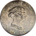 Italy: , Italy: Lucca. Felix & Elisa 5 Franchi 1806, KM24, AU58 NGC,beautifully toned with one light scratch across Felix' nose. Veryscarc...