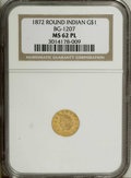 California Fractional Gold: , 1872 $1 Indian Round 1 Dollar, BG-1207, R.4, MS62 Prooflike NGC.Each side of this moderately reflective gold dollar displa...