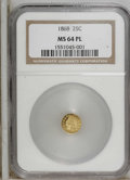 California Fractional Gold: , 1868 25C Indian Round 25 Cents, BG-889, High R.6, MS64 ProoflikeNGC. PCGS Population (6/2). (#10750)...