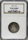 Proof Seated Quarters: , 1871 25C PR64 Cameo NGC. NGC Census: (3/7). PCGS Population (5/1).(#85570)...