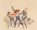 Mainstream Illustration, Mitchell Hooks (American, b. 1923). Three Musketeers, movieconcept art. Mixed media on board. 25 x 31.25 in. (sight). S...