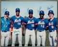 Baseball Collectibles:Photos, 1980's New York Mets Stars Multi-Signed Oversized Photograph from The Gary Carter Collection....