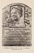 Baseball Collectibles:Others, 1946-52 Tris Speaker Signed Albertype Hall of Fame Plaque Postcard,PSA/DNA Mint 9....