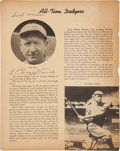 Baseball Collectibles:Others, Mid 1950's Dazzy Vance Signed Brooklyn Dodgers Magazine Page....