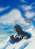 Mainstream Illustration, American Artist (20th Century). Godzilla in the Snow, G-Fanmagazine cover. Mixed media on board. 18.25 x 13 in. (sight)...