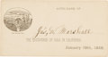 Autographs:Celebrities, James Marshall: A Virtually Pristine Autographed Card from the Discoverer of California Gold....