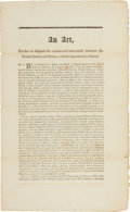 Miscellaneous:Ephemera, John Adams and Thomas Jefferson: A Significant Broadside, Signed inPrint, Dealing with Trade with France During a Period of H...