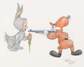 Animation Art:Production Drawing, Virgil Ross - Bugs Bunny and Elmer Fudd Illustration (WarnerBrothers, c. 1990s)....