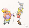 Animation Art:Production Drawing, Virgil Ross - Yosemite Sam and Bugs Bunny Illustration (WarnerBrothers, c. 1991)....
