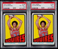 Basketball Cards:Lots, 1972 Topps Julius Erving #195 PSA Graded Rookie Pair (2)....