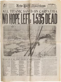 Transportation:Nautical, HMS Titanic Disaster: Newspaper Account....