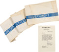 Political:Presidential Relics, John F. Kennedy: Towel Used as U.S. Senator.... (Total: 2 Items)