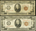Small Size:World War II Emergency Notes, Fr. 2304 $20 1934 Hawaii Federal Reserve Notes. Two Examples. Fine.. ... (Total: 2 notes)
