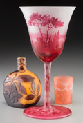 Art Glass:Galle, Three French Cameo and Overlay Glass Articles. Circa 1900-1915.Cameo Galle; D'Argental; Vessiere, Nancy. Ht.6-... (Total: 3 Items)