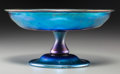Miscellaneous, Tiffany Studios Blue Favrile Glass Compote. Circa 1919. EngravedL.C. Tiffany - Favrile, 5607, N.. Ht. 3-7/8 x 7-3/4...